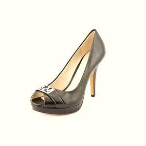 Coach Aliya Logo Peek Open Toe Heels 6B